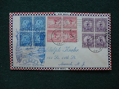 USA First Day Cover Olympics Air Mail Long Beach to Newark