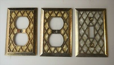 VINTAGE MOTHER OF PEARL SWITCH/OUTLET PLATE COVERS. Lot of (3)