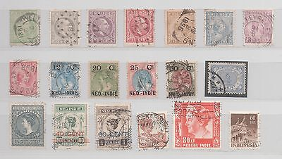 Indes Neerlandaises 19 Timbres Differents, Utilises, Valeur 45 Euros