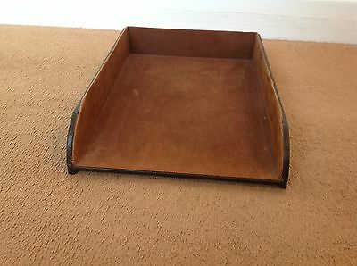 Brown Faux Leather Letter Tray