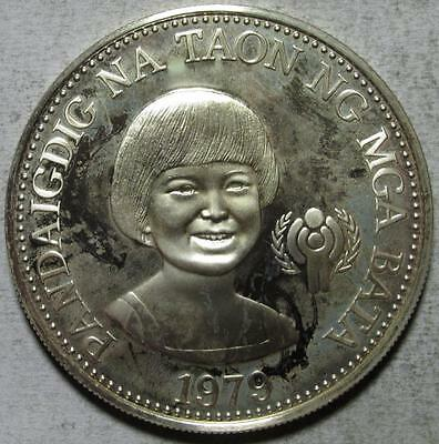 Philippines, 50 Piso, 1979, Toned Proof, Year of the Child, .8149 Ounce Silver