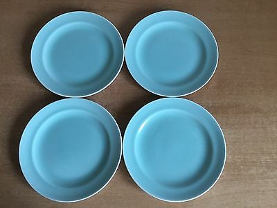 Poole Twintone Ice Green and Seagull C57 - 4 X 16.5 cm Tea / Side Plates
