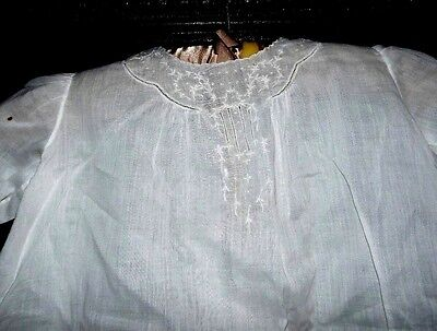 Antique Victorian Edwardian Embroidered Romantic Baby Christening Gown Dress