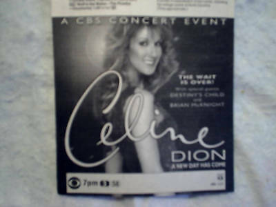 2002 CELINE DION A New Day Has Come tv special AD PRINT ONLY