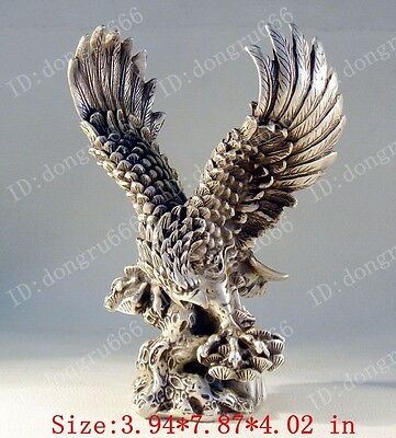 Unique styling vintage Tibet silver spread the wings eagle statues. AAA686