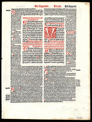 Civil & Canon Law 1505 Early Printing Leaf Decretales Pope Gregory IX