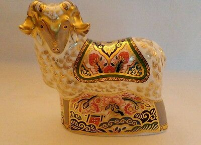 Royal Crown Derby First Quality Imari Ram. Special Gold Stamp, 2002 Only.