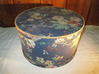 """Vintage 12"""" Hat Box Decorated With Floral Pattern 7"""" Tall"""