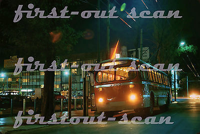 Z Original Slide - STE Mexico 3360 Trackless Trolley Bus at Night San Ant. 1973