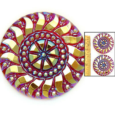 Reduced! 36mm Vintage Czech Glass 3-D RUBY Carnival AB Faceted LACE Buttons 2pc