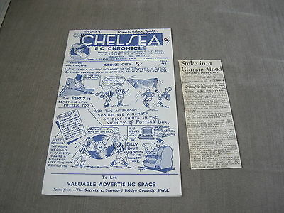 CHELSEA v STOKE CITY 12/10/46, FOOTBALL LEAGUE DIVISION 1 &  MATCH REPORT