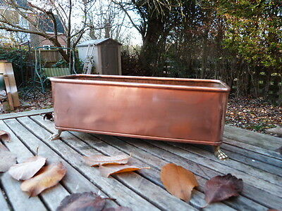 Lovely Vintage Copper & Brass Planter With Lion Head Handles & Claw Feet.