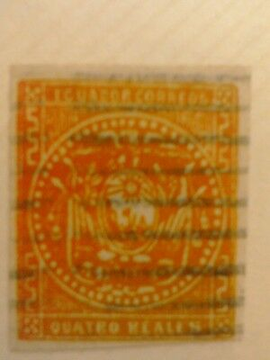 A Quatro Reals Stamp From Ecuador.Red.Not Perforated.1865-72.Real or Fake?.