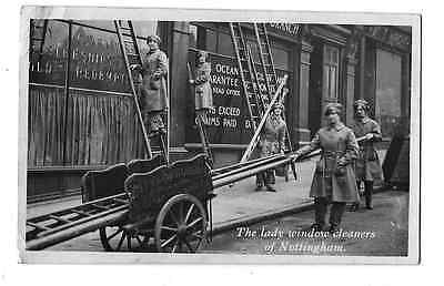 WW1 Real Photo Postcard Nottingham 1915 City & Suburban Lady Window Cleaners