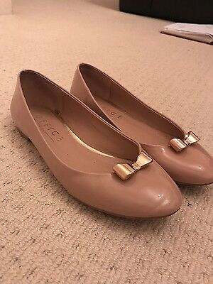 Size 4 Office flat patent nude shoes / pumps