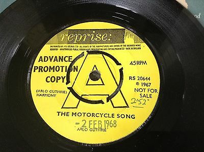 "Arlo Guthrie The Motorcycle Song 7"" Single Promo Rs 20644"