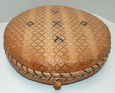 Vintage Woven Basket Flat Cover Unknown Culture Fine Weave Round Sewing Notions
