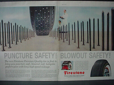 1959 Firestone Tire Puncture Safety Blowout Safety Nails Vintage Print Ad 12421