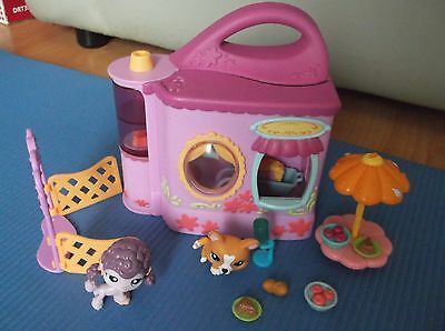 Littlest Pet Shop Cafe Carry House With 2 Pets Free P&p
