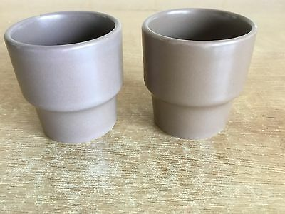 Vintage Twintone Poole Pottery - Sepia and Mushroom - 2 x Egg Cups
