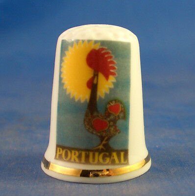 Fine Porcelain China Thimble - Travel Poster Series - Portugal -- Free Gift Box