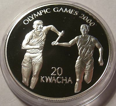 Malawi 20 kwacha 1999 Sydney Olympics 2000 Silver Proof Coin!!!