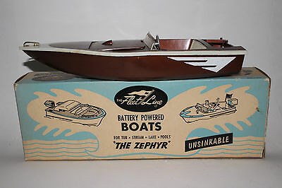 1960's Fleet Line Battery Operated Pond Boat, The Zephyr, Nice with Box #2
