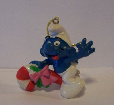 Smurf Christmas Tree Ornament Riding Candy Cane Schleich 1981 Vintage Portugal