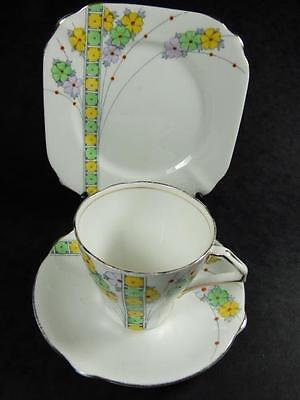 SPRING FLOWERS TEA TRIO,Yellow & Green, Bell China,3303, Gilded