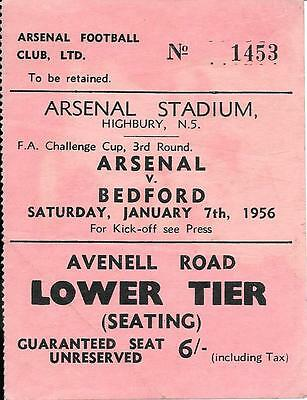 Ticket Arsenal v Bedford Town FA Cup 3rd Round 1955/56
