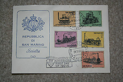 "1964 San Marino ""locomotive"" Stamp First Day Cover, Good Condition"