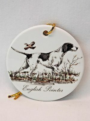 English  Pointer Dog 3 In Round Porcelain Christmas Tree Ornament-H