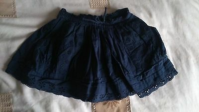 NEXT girls navy blue broderie anglaise skirt size: 1.5 - 2 years