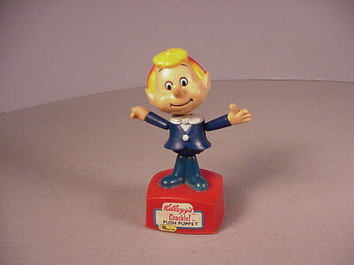 Vintage Kellogg's Rice Krispies Push puppet toy 1980s Crackle advertising cereal