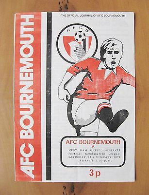 BOURNEMOUTH v WEST HAM UNITED Reserves 1975/1976 + 2 Hammers Autographs Exc Cond