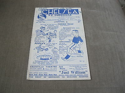 CHELSEA v LIVERPOOL 4/1/47, FOOTBALL LEAGUE DIVISION 1
