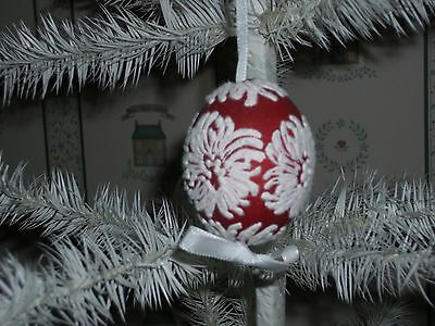 Peter Priess Austrian Christmas Egg Shell Ornament-Flocked Snowflakes