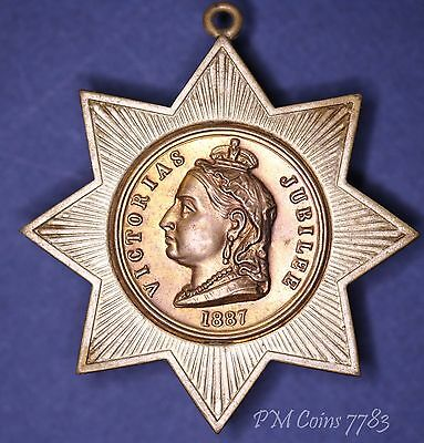 1887 Victoria Jubilee medal 8 point star, tin plate, 45mm 4.2g [7783]