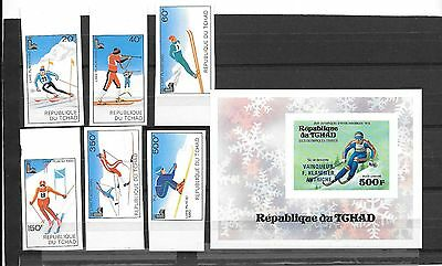 OLYMPICS- Chad ( Africa)- 7 unlisted imperfs for Winter Games-1976 & 1980 (MNH)