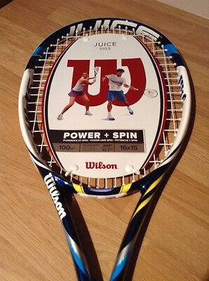 Wilson Juice 100s Power & Spin Tennis Racket, Blue & White, BRAND NEW WITH TAGS