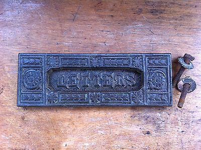 DECORATIVE ANTIQUE CAST IRON LETTER FLAP 7.3 by 2.6 inches