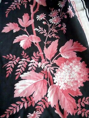 ANTIQUE FRENCH FABRIC COTTON 19TH-century  TEXTILES  FLORAL DECOR