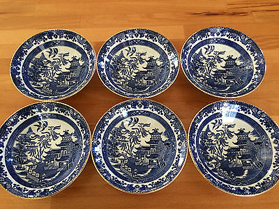 """SET OF 6 WILLOW PATTERN BURLEIGHWARE BLUE & WHITE 6.25"""" BOWLS DISHES x 2"""" TALL"""