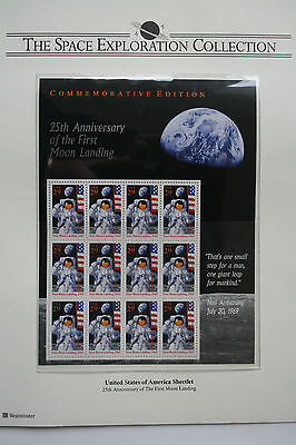"""""""25th ANNIVERSARY OF THE FIRST MOON LANDING"""" USA 1994 MINT SHEET"""