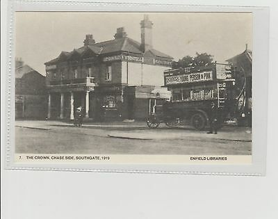 Vintage Enfield Libraries Postcard The Crown Chase Side & Bus Southgate 1919