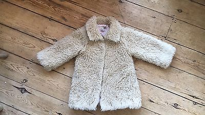 H&M Girls Faux Fur Coat 3-4 Years