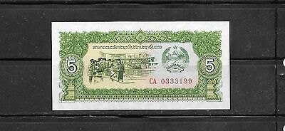 Laos 26R 1979 Unc Mint 5 Kip Replacement Banknote Paper Money Currency Bill Note