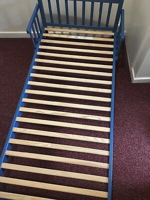kids childrens wooden blue toddler bed with matress