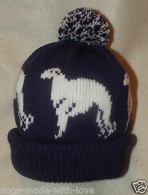 BORZOI dog NEW Knitted beanie pompom bobble ADULT size HAT