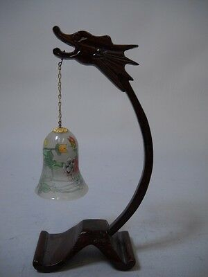 VINTAGE Wood DRAGON Stand with FROSTED GLASS Bell with FLOWERS and BUTTERFLYS